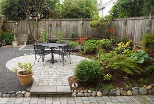 Traditional Landscape/Yard with Fence, Bird bath, exterior stone floors, exterior brick floors