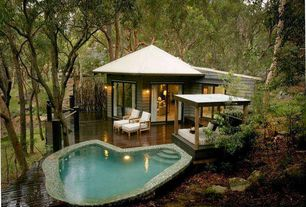 Rustic Swimming Pool with Pathway, French doors, Gazebo