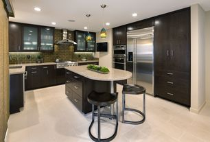 Contemporary Kitchen with Breakfast bar, Pendant light, Flush, U-shaped, Kitchen island, Simple granite counters, Subway Tile