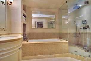 Traditional Master Bathroom with stone tile floors, frameless showerdoor, Flat panel cabinets, Bathtub, Flush, Wall Tiles