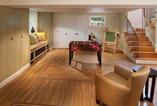 Contemporary Playroom with flush light, Laminate floors, Window seat