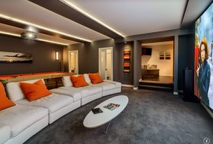 Contemporary Home Theater with Exposed beam, Bellini modern living angela coffee table, Carpet, Wall sconce, Paint