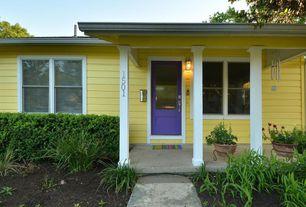 Cottage Front Door with double-hung window, Pathway, Glass panel door, exterior tile floors, exterior concrete tile floors