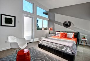 Modern Master Bedroom with Carpet, Urban Trends Ceramic Garden Stool Red, specialty window, French doors, Standard height