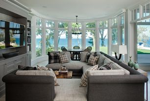 Traditional Living Room with Crown molding, Pendant light, Shiraleah Berkshire Plaid Decorative Pillow, Console table
