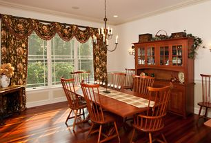 Country Dining Room with Chandelier, can lights, Crown molding, Standard height, Wainscotting, Hardwood floors, Chair rail
