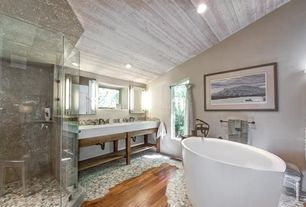Eclectic Master Bathroom with Paint, High ceiling, Shower, Master bathroom, Console sink, Corian counters, Double sink