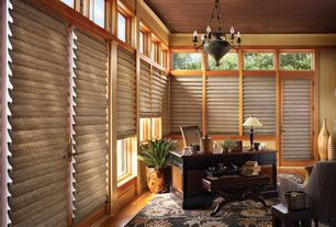 Craftsman Home Office with Transom window, Hardwood floors, Crown molding, Chandelier
