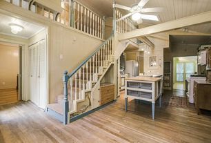 Cottage Staircase with Carpet, High ceiling