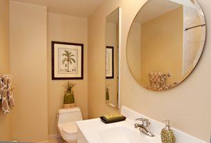 Tropical Powder Room with partial backsplash, Powder room, Undermount sink, Standard height, stone tile floors
