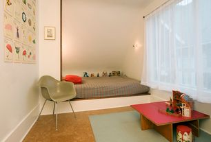 Contemporary Kids Bedroom with Standard height, Concrete floors, Art desk, Bunk beds, Wall sconce, picture window