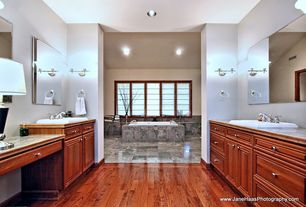 Traditional Master Bathroom with can lights, drop in bathtub, Standard height, Bathtub, Wall Tiles, drop-in sink, Casement