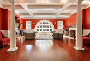 Contemporary Living Room with metal fireplace, Crown molding, Wall sconce, Hardwood floors, Arched window, Box ceiling