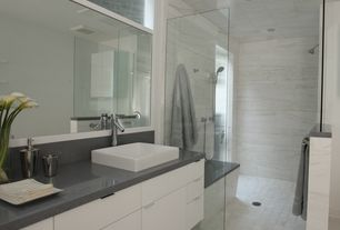 Contemporary Master Bathroom with Stained glass window, Mamba Single Hole Lavatory Faucet, Flush, Slate, Master bathroom