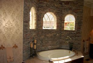 Traditional Master Bathroom with Mirage 993-59451 mercutio damask wallpaper, gold