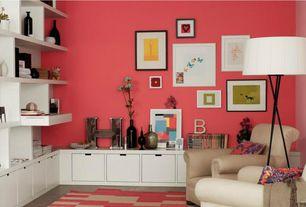 Contemporary Living Room with Built-in bookshelf, Volo design inc. belina floor lamp, Concrete tile , 3 legged floor lamp