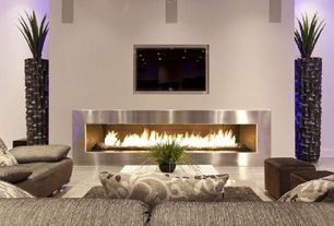 Contemporary Living Room with Concrete floors, Fireplace, High ceiling, Laminate floors, metal fireplace, insert fireplace