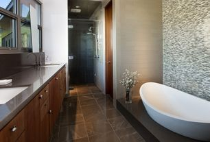 Contemporary Master Bathroom with Master bathroom, Double sink, Stone source, misty black, granite, Freestanding, Flush