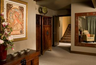 Asian Master Bedroom with Carpet, High ceiling, Exposed beam