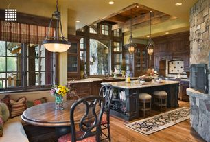 Rustic Kitchen with Farmhouse sink, Kitchen island, Pizza oven, Pendant light, Custom hood, Raised panel, High ceiling