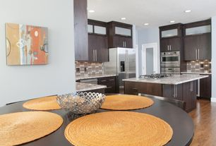 Contemporary Kitchen with Glass panel door, Kitchen island, Glass Tile, Flush, U-shaped, Simple granite counters