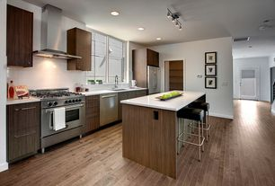 Contemporary Kitchen with flush light, Multiple Refrigerators, One-wall, Casement, Kitchen island, Flush, Wall Hood, Paint 1