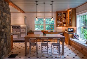 Craftsman Kitchen with Soapstone counters, Magic chef - 1930s range, Window seat, Flat panel cabinets, Inset cabinets