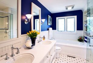 Traditional Full Bathroom with Flat panel cabinets, Wall sconce, Wainscotting, Flush, Shower, frameless showerdoor, Full Bath