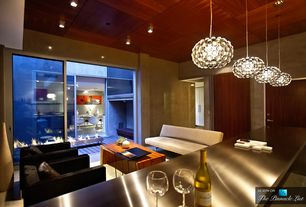 Contemporary Living Room with Standard height, flat door, flush light, Chandelier, Carpet, sliding glass door