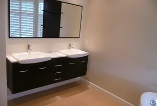 Contemporary Master Bathroom with Flush, limestone tile floors, Master bathroom, Farmhouse sink, Double sink, Corian counters
