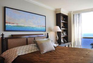 Tropical Master Bedroom with Built-in bookshelf