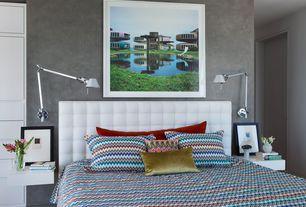 Contemporary Master Bedroom with Hardwood floors, Built-in bookshelf