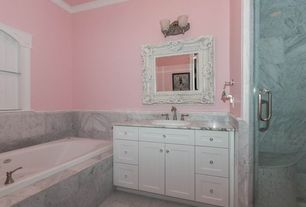 Traditional Full Bathroom with Paint 2, Majestic Mirror Traditional Beveled Mirror, Top Knobs Clear Melon Crystal Knob