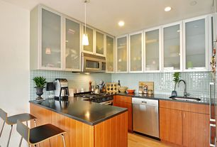Contemporary Kitchen with can lights, European Cabinets, Pendant light, Galley, Standard height, Flush, built-in microwave