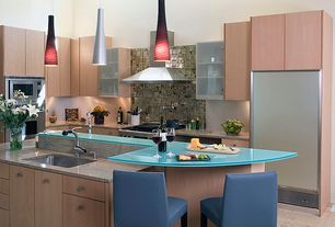 Contemporary Kitchen with Large Ceramic Tile, Paint, Flush, double wall oven, Undermount sink, High ceiling, Wall Hood