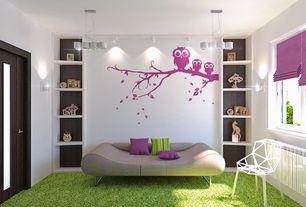Contemporary Kids Bedroom with Pendant light, Casement, can lights, Built-in bookshelf, Standard height, Wall sconce, Carpet