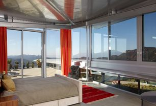 Modern Master Bedroom with complex marble floors, specialty window, French doors, Standard height, can lights