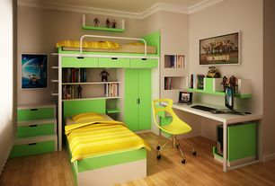 Traditional Kids Bedroom with Crown molding, Built-in bookshelf, Laminate floors, Ducduc austin bunk bedroom collection