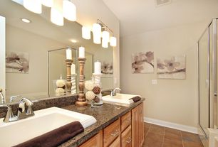 Traditional Master Bathroom with Double sink, terracotta tile floors, Raised panel, Inset cabinets, Simple Granite