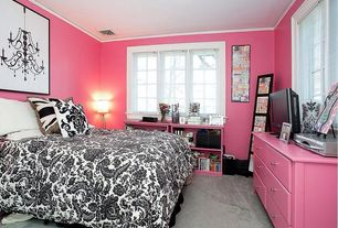 Eclectic Kids Bedroom with Carpet, Target home watercolor paisley bedding collection in black/white, Built-in bookshelf