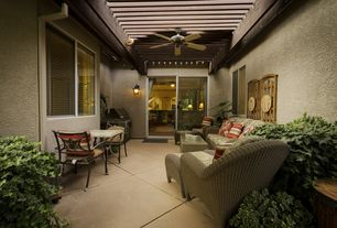 Tropical Patio with Trellis, exterior tile floors