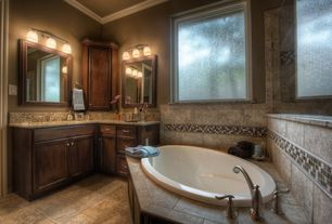 Traditional Master Bathroom with MS International Pine Valley Glass Stone Blend Mosaic Tile, Flat panel cabinets, Flush