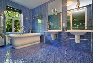 Eclectic Master Bathroom with French doors, Freestanding, flush light, Daltile Natural Hues Azure, Master bathroom