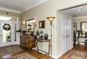 Traditional Entryway with Crown molding, Transom window, Wall sconce, French doors, Hardwood floors