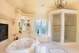 Traditional Master Bathroom with Elements of Design Magellan Double Handle Deck Mount Roman Tub Faucet