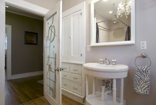 Art Deco Full Bathroom with Chandelier, Console sink, Rain shower, Modern stained glass door, Flat panel cabinets