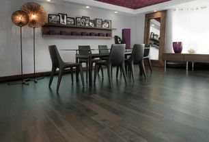 Contemporary Dining Room with Hardwood floors, Higgins Leaner Mirror - 49W x 84H in., Fine Mod Imports Square Dining Chair