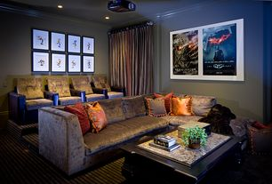 Contemporary Home Theater with Carpet, Seatcraft buccaneer microsuede theater seating, Crown molding, Framed movie posters