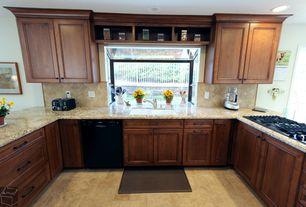 Traditional Kitchen with Flush, U-shaped, Bay window, MS international tumbled travertine tile in tuscany walnut, Stone Tile