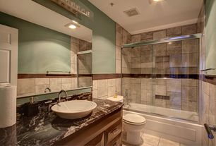Eclectic Full Bathroom with Ceramica Vessel Sink in White by  WS Bath Collections, flush light, Vessel sink, Raised panel